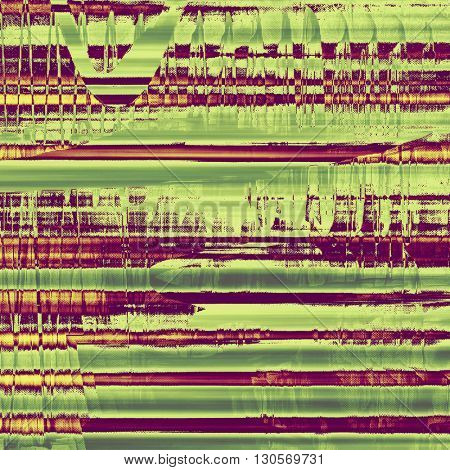 Distressed grunge texture, damaged vintage background with different color patterns: yellow (beige); brown; green; purple (violet); pink