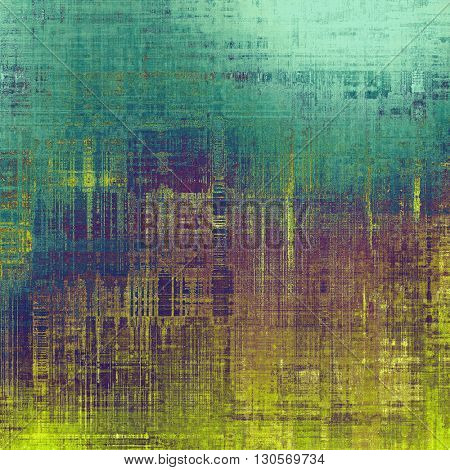 Vintage texture, old style frame decoration with grunge graphic elements and different color patterns: yellow (beige); brown; green; blue; purple (violet); cyan