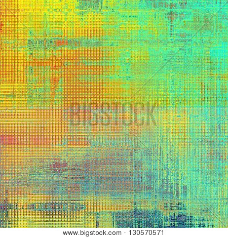 Vintage old-style texture, worn and rough grunge background with different color patterns: yellow (beige); green; red (orange); cyan