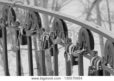 locks on the fence as tradition in the wedding