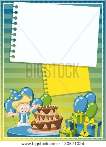 Card with a cartoon blonde boy having fun at birthday party