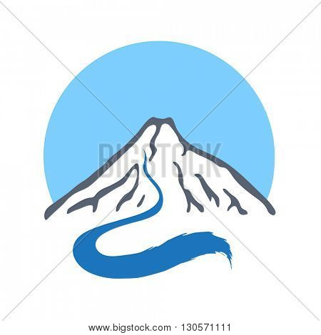Mountain river, vector logo illustration.