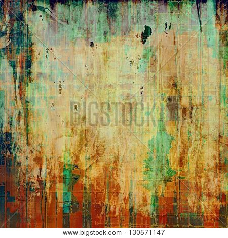Vintage template or background with grungy texture, antique decor and different color patterns: yellow (beige); brown; green; blue; red (orange)