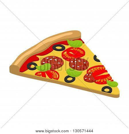 Pizza Isometrics. 3D Italian Food. Delicious Fresh Slice Of Pizza Ingredients Tomatoes And Cheese, S