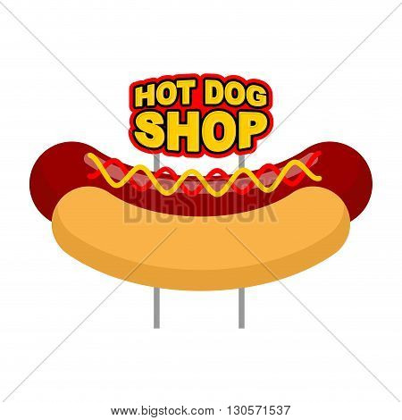 Hot Dog Shop Signboard. Big Juicy Sausage And Bun Name For Fast Food Restaurant. Traditional America