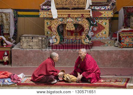 LAMAYURU INDIA - JUNE 13 2015: Unidentified buddhist monk during mystical mask dancing Tsam mystery dance in time of Yuru Kabgyat Buddhist festival at Lamayuru Gompa Ladakh North India