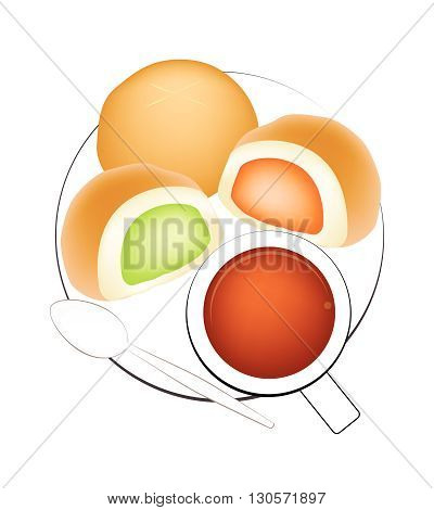 Coffee Break Hot Coffee with Bun Bread Stuffed With Custard Cream Isolated on White Background.