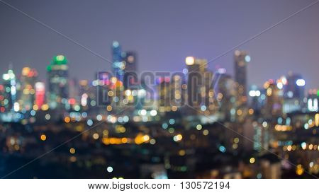 Abstract blurred lights, central business downtown night view
