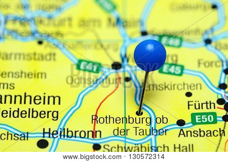 Rothenburg ob der Tauber pinned on a map of Germany