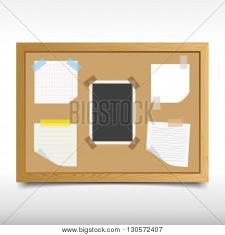 Set pieces of paper notebook on the board