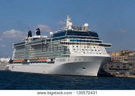 ISTANBUL TURKEY - JULY 18 2015 : White big cruise ship and water Bosphorus strait in Istanbul Turkey