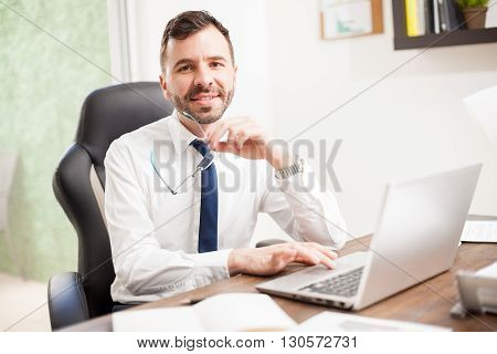 Attractive Latin Businessman In An Office