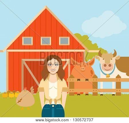 Vector image of the  Farmer woman and a flat farm