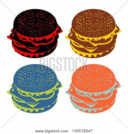 Hamburger Flat Sign. Icon Burger Silhouette. Colorful Character Fast Food