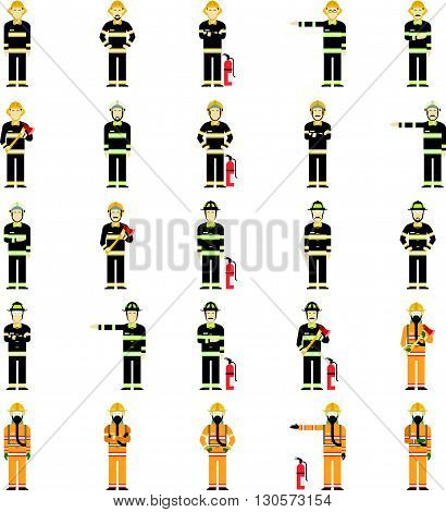 Vector image of a collection of diffirent suits of firemen