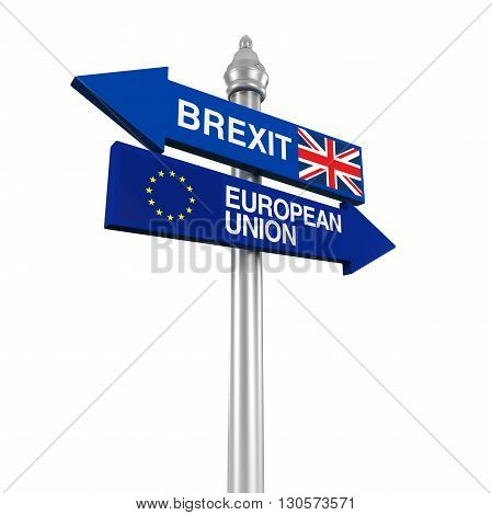Brexit Direction Sign isolated on white background. 3D render