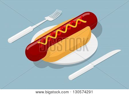 Hot Dog On Plate Isometric. 3D Fast Food. Cutlery Fork And Knife. Kitchenware. Bun And Sausage. Ketc