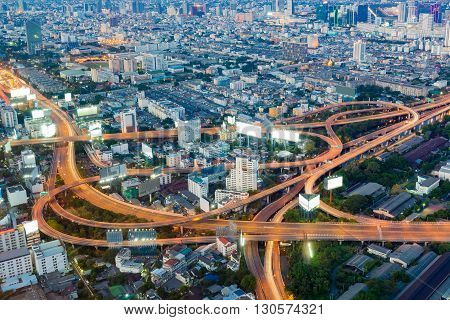 Aerial view, highway interchanged during busy hours