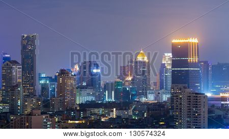 City office building business downtown, night view background