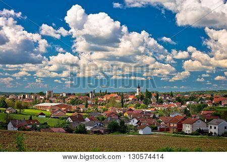Town of Krizevci cloudy skyline region of Prigorje Croatia