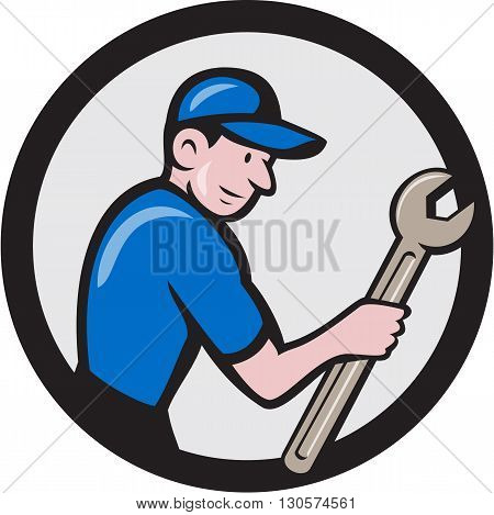 Illustration of a repairman handyman worker wearing hat carrying spanner wrench viewed from the side set inside circle done in cartoon style.