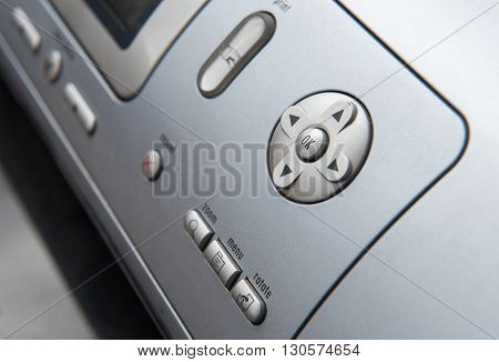 Details of electronic grey computer printer control buttons