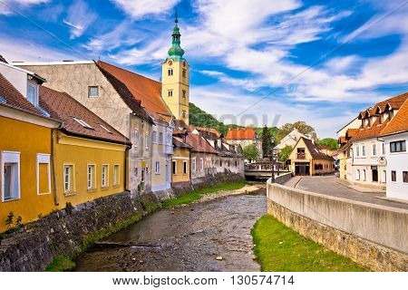 Samobor river and old streets view town in northern Croatia