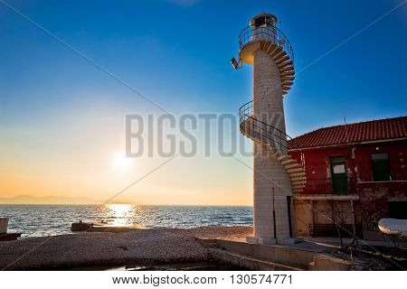 Lighthouse in Zadar at sunset Dalmatia Croatia