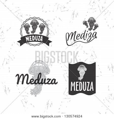 Vector black and white logo set with jellyfish. The jellyfish as main element of logotypes on white background