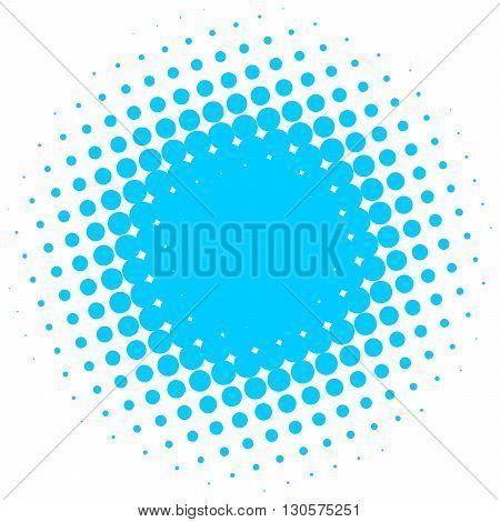 Blue abstract halftone circle made of dots. Vector illustration.