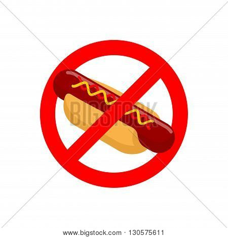Ban Hot Dog. Stop Fast Food. Tasty Sausage And Bun. Emblem Against Harmful Food. Red Prohibition Sig