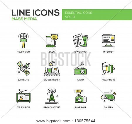 Set of modern vector line design mass media icons and pictograms. Tv, newspaper, blog, internet, radio satellite, megaphone, broadcasting, camera, snapshot