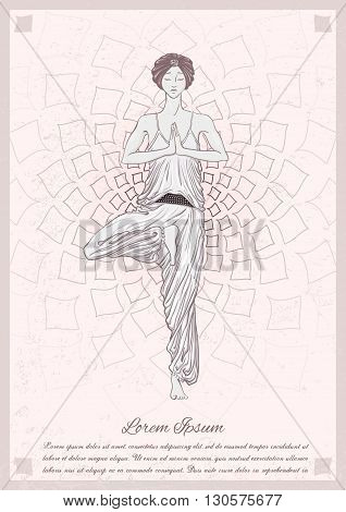 Beautiful girl with turban stay at vrikshasana pose with grafic mandala on background. Vector illustration card for yoga and mindfulness consent.