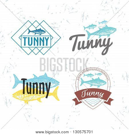 Vector colourful logo set with tuna fish. The tuna as main element of logotypes on white background