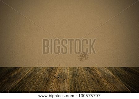 Sand Texture Surface Vintage Style With Wood Terrace