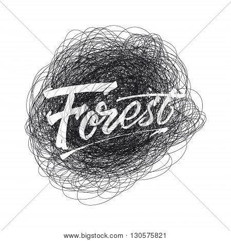 Forest sign handmade differences, made using calligraphy and lettering using geometric elements ways and assembled in the badge using typographic rules