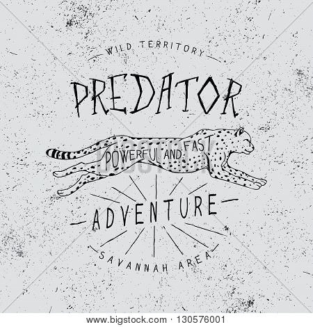Vintage trademark with cheetah .Grunge effect.Typography design for t-shirts