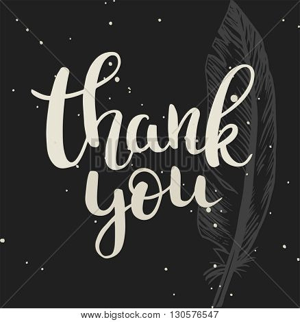 Thank You calligraphy. Brush painted letters. Vector illustration.