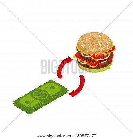 Buying Hamburger Isometrics. Sale Of Fast Food. Exchange Sign. Money Is Exchanged For Food. Intercha