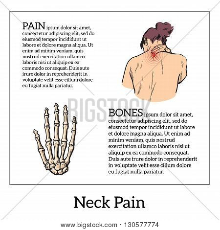 Pain in the neck of a woman, vector sketch illustrationa isolated, woman holding his hand sore neck, spine disease or muscle overexertion, human neck injury,  black and white illustration