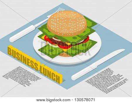Business Lunch Infographics. Hamburger With Money On Plate. Cutlery Fork And Knife. Use Of Cash. On