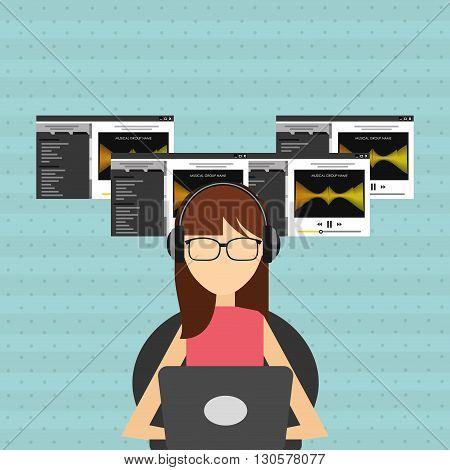 mobile audio design, vector illustration eps10 graphic