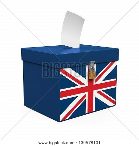 Ballot Box with United Kingdom Flag isolated on white background. 3D render