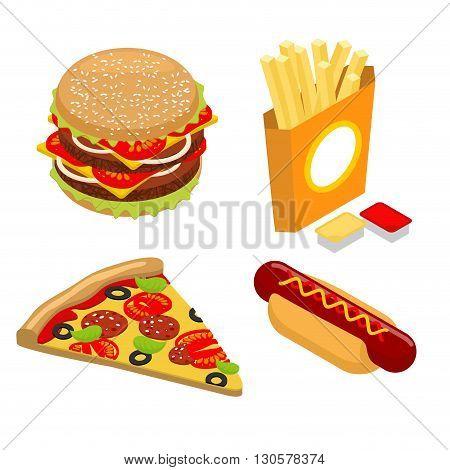 Set Fast Food Isometrics. Big Juicy Hamburger And Chop. French Fries In Paper Box. Ketchup And Chees