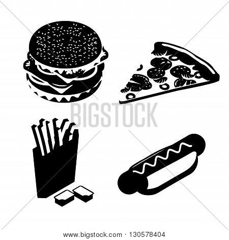 Set Fast Food Silhouette. Big Juicy Hamburger And Chop. French Fries In Paper Box. Ketchup And Chees