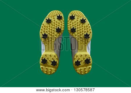 a pair of golf shoes in a green background