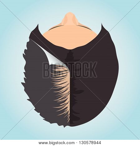 Top view of a woman losing hair before and after hair treatment. Divided image of a woman head. Two halves. Sticker revealing healthy hair. Female hair loss. Isolated vector illustration.