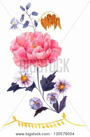 A watercolor drawing of a bouquet of flowers: a wisteria a tender pink peony violets and daisies hand painted in Victorian style on white background