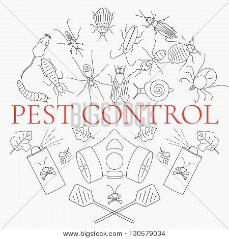 Pest control line icon set with insects and rodents and pest control equipment. Linear design elements for exterminator service and pest control companies.