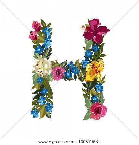 H letter. Flower capital alphabet. Colorful font. Uppercase. Vector illustration. Grotesque style. Floral alphabet.